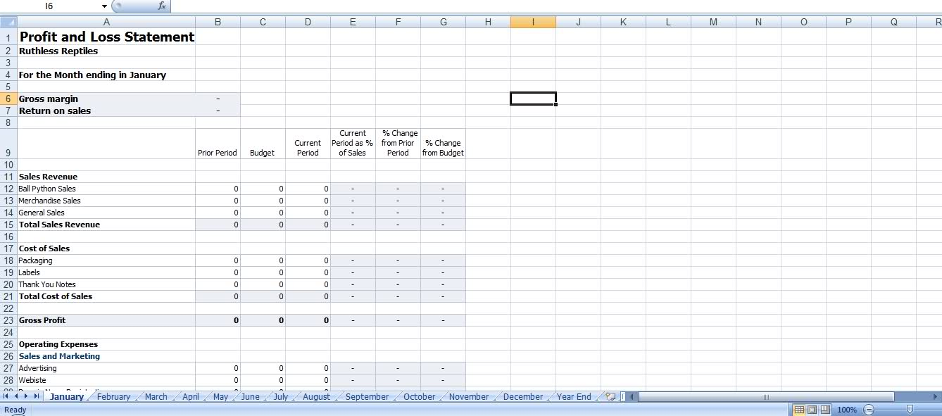 Profit Loss Template – Profit and Loss Forecast Template