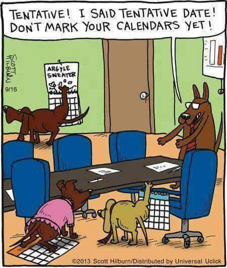 dog marking calendar cartoon